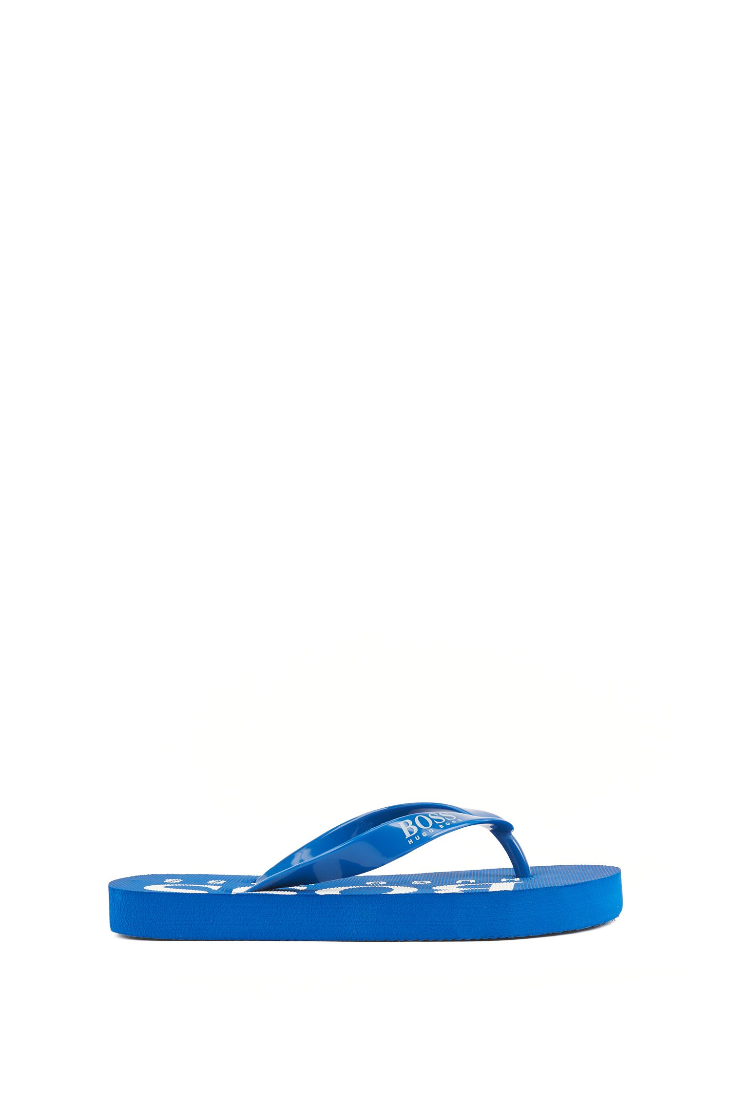 Kids' flip-flops with logo straps and detailing, Blue