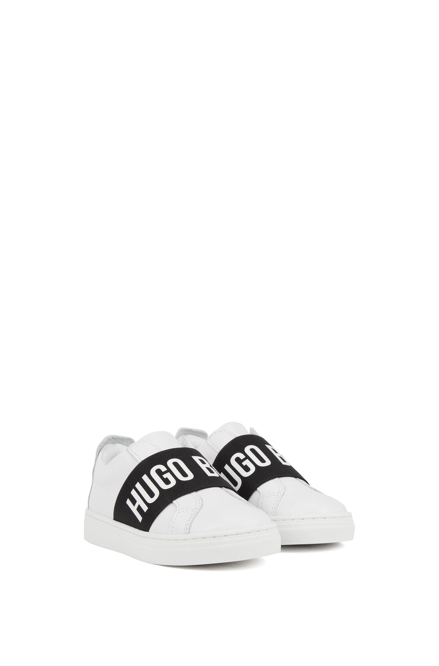 Kids-Sneakers mit Logo-Print auf dem Elastik-Riemen, Weiß