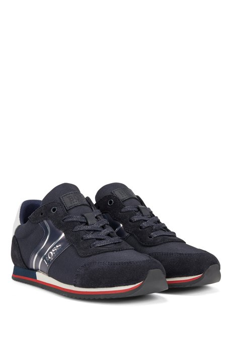 Kids' low-top hybrid trainers with reflective logo, Dark Blue