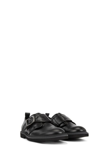 Kids' shoes in nappa leather with buckled strap, Black
