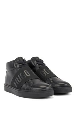 Kids Hightop Sneakers aus Leder mit Logo-Riemen, Schwarz