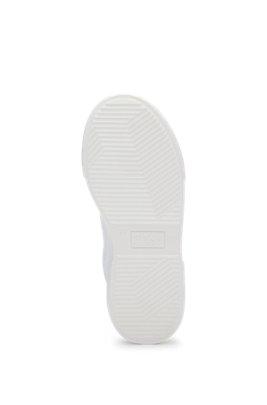 Geschnürte Kids-Sneakers aus Leder mit Logo-Prägung, Weiß