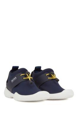 Sneakers da bambino in neoprene con rifiniture in pelle, Blu scuro