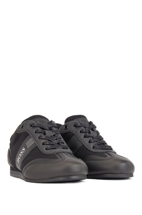 Kids' lace-up trainers in faux leather and mesh, Black