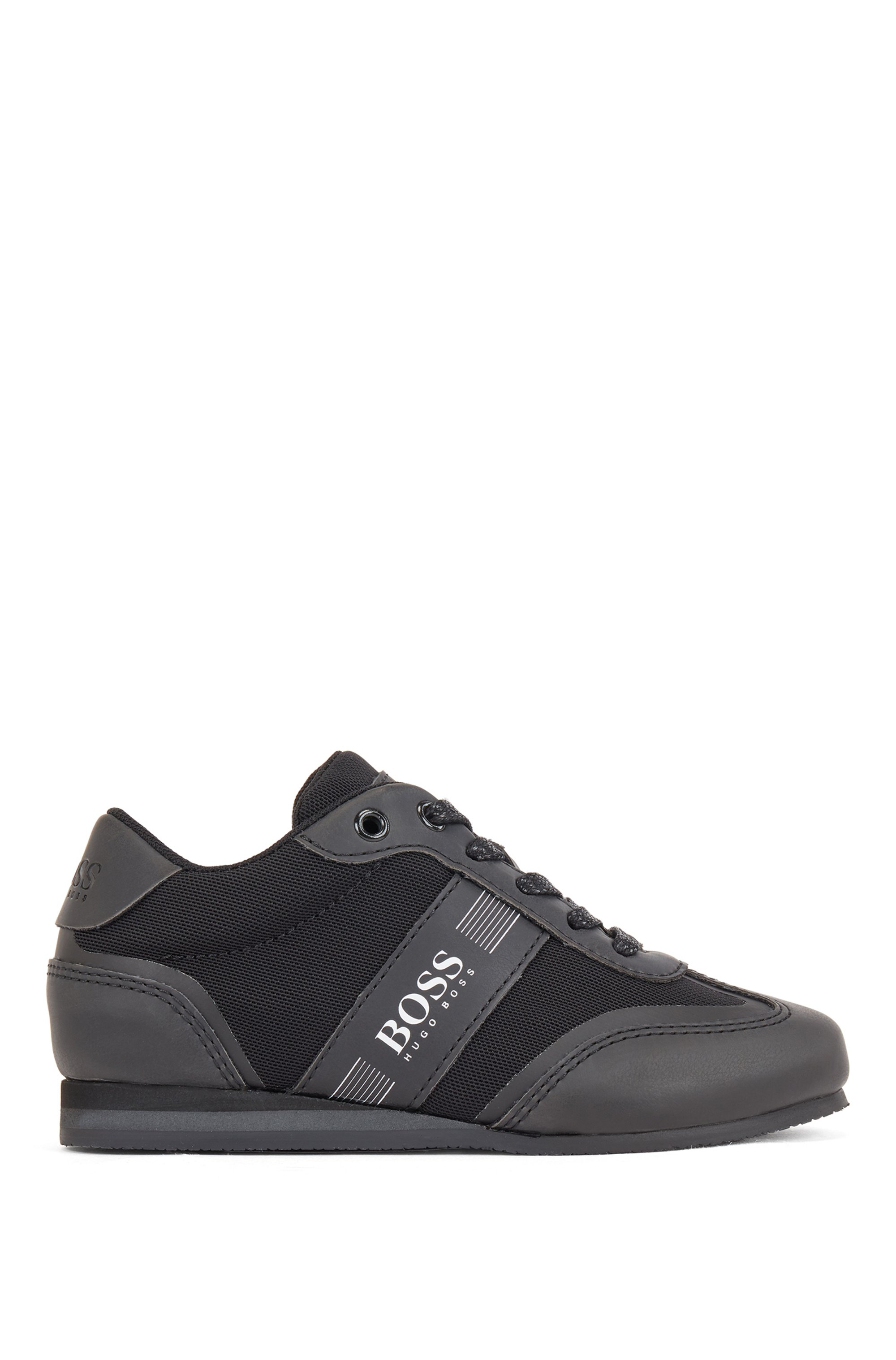 Kids' lace-up trainers in faux leather and mesh