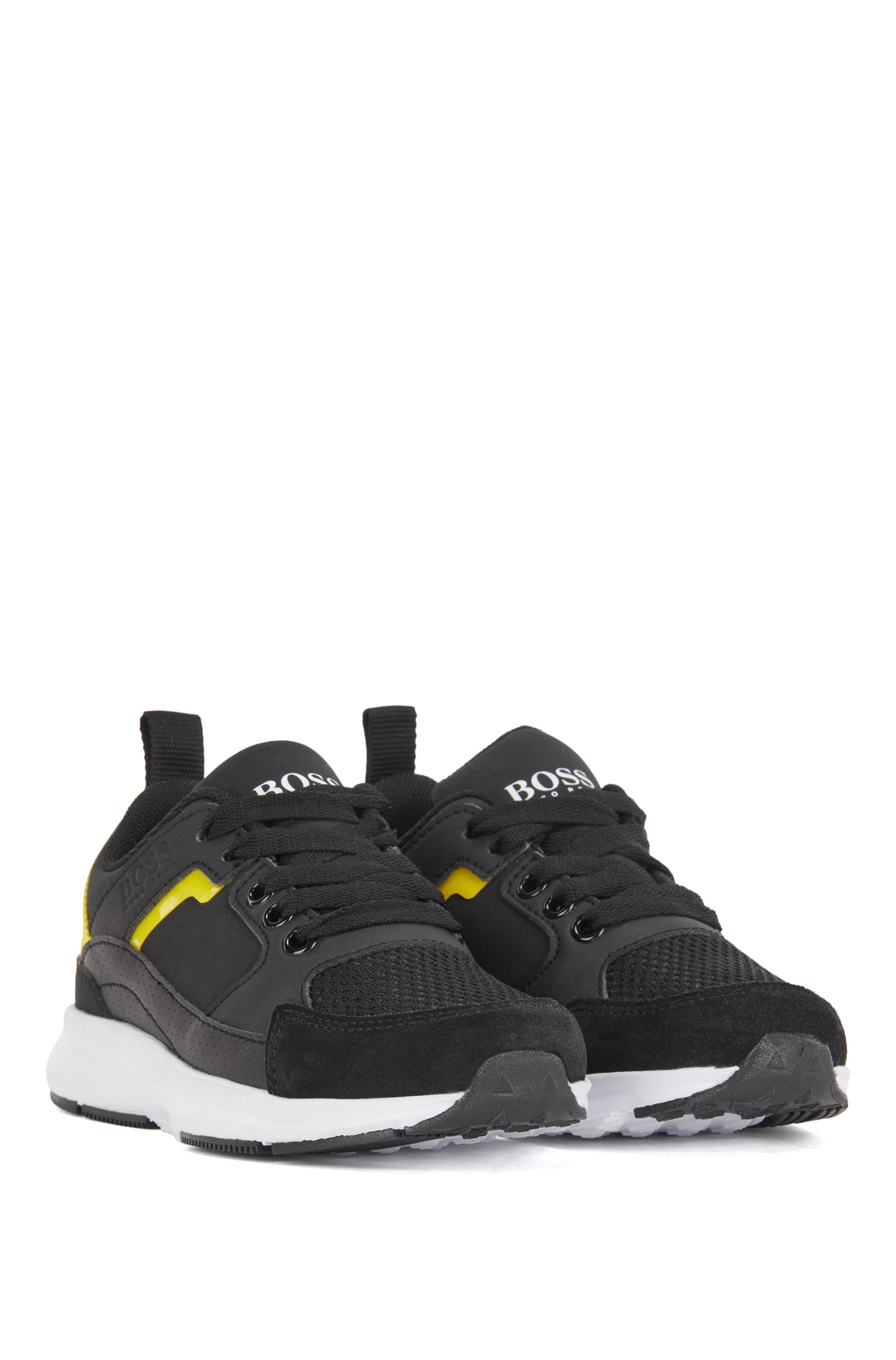 Kids' trainers in mixed materials with logo details, Black