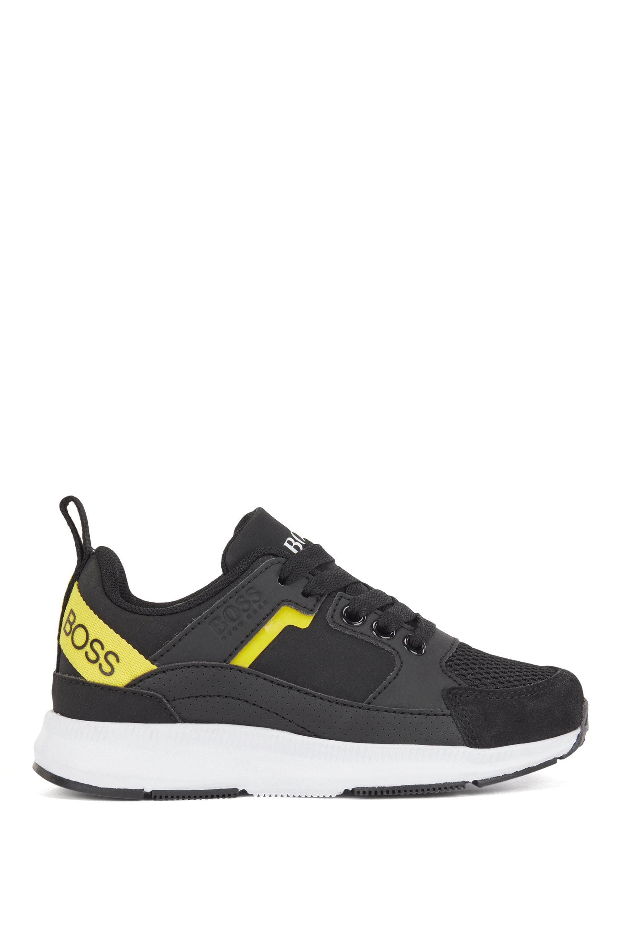 Kids' trainers in mixed materials with logo details