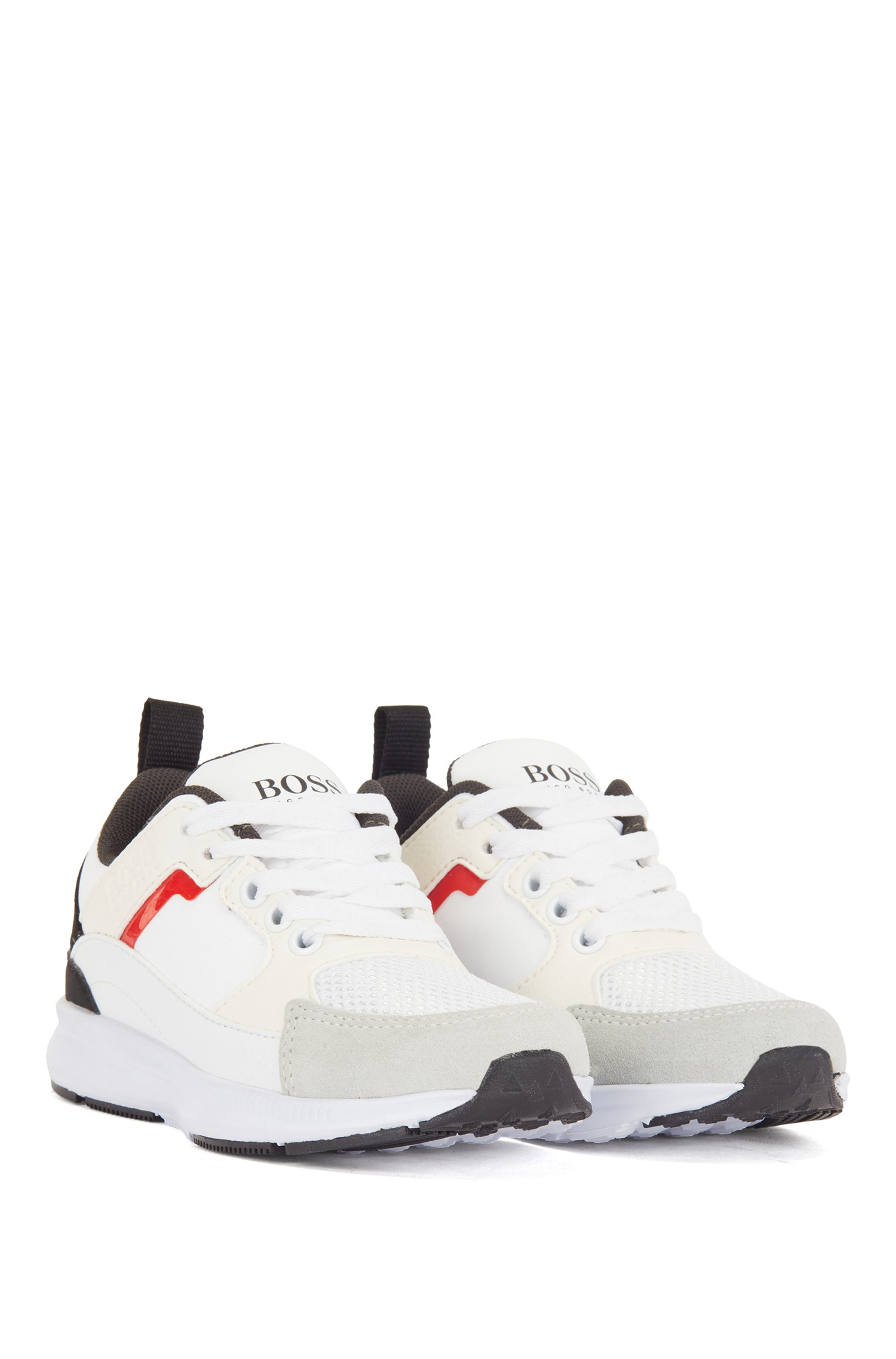 Kids' trainers in mixed materials with logo details, White