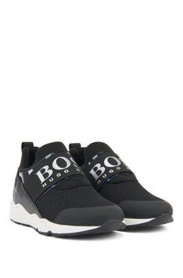Kids-Sneakers aus Material-Mix mit elastischem Logo-Riemen, Schwarz
