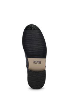 Chaussures derby pour enfant en cuir de veau, avec logo embossé, Noir