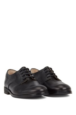 Kids' Derby shoes in calf leather with embossed logo, Black