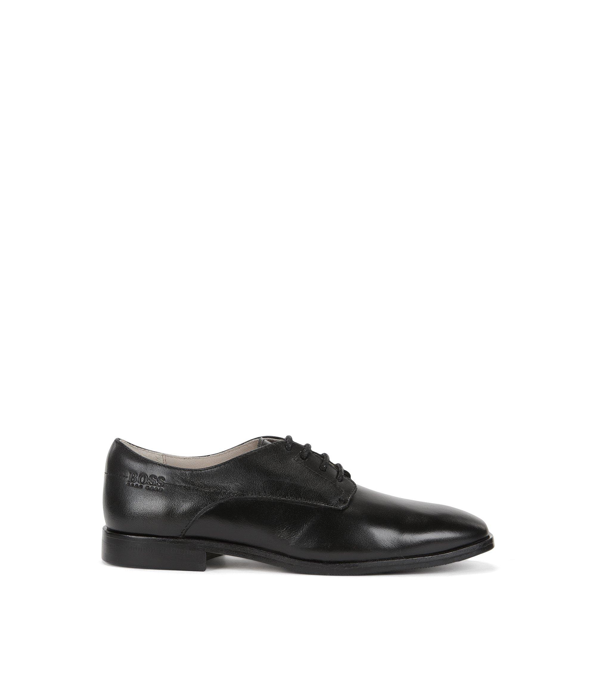 Chaussures derby pour enfant en cuir lisse, Noir