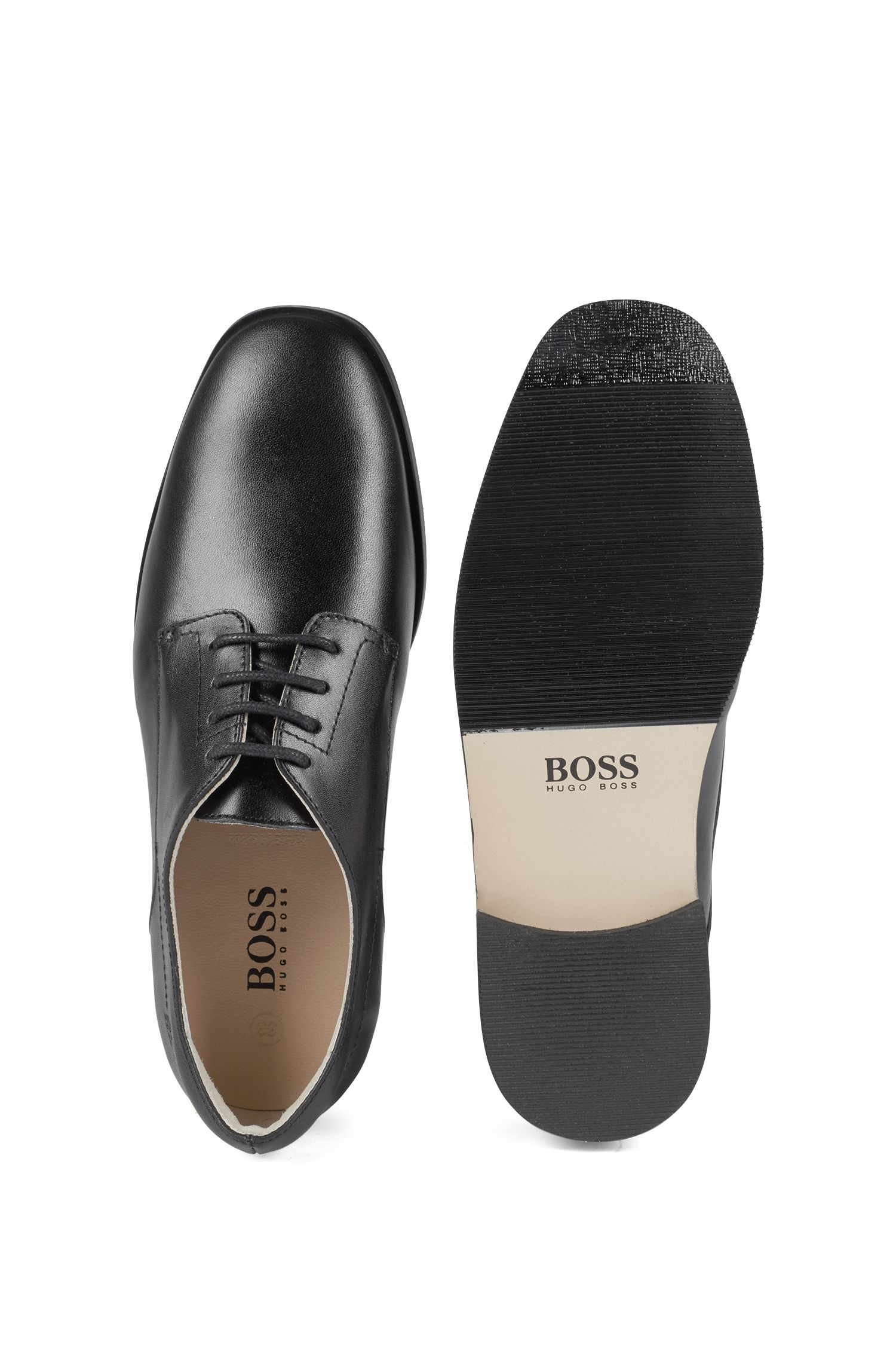Zapatos Derby en piel lisa para niños, Negro