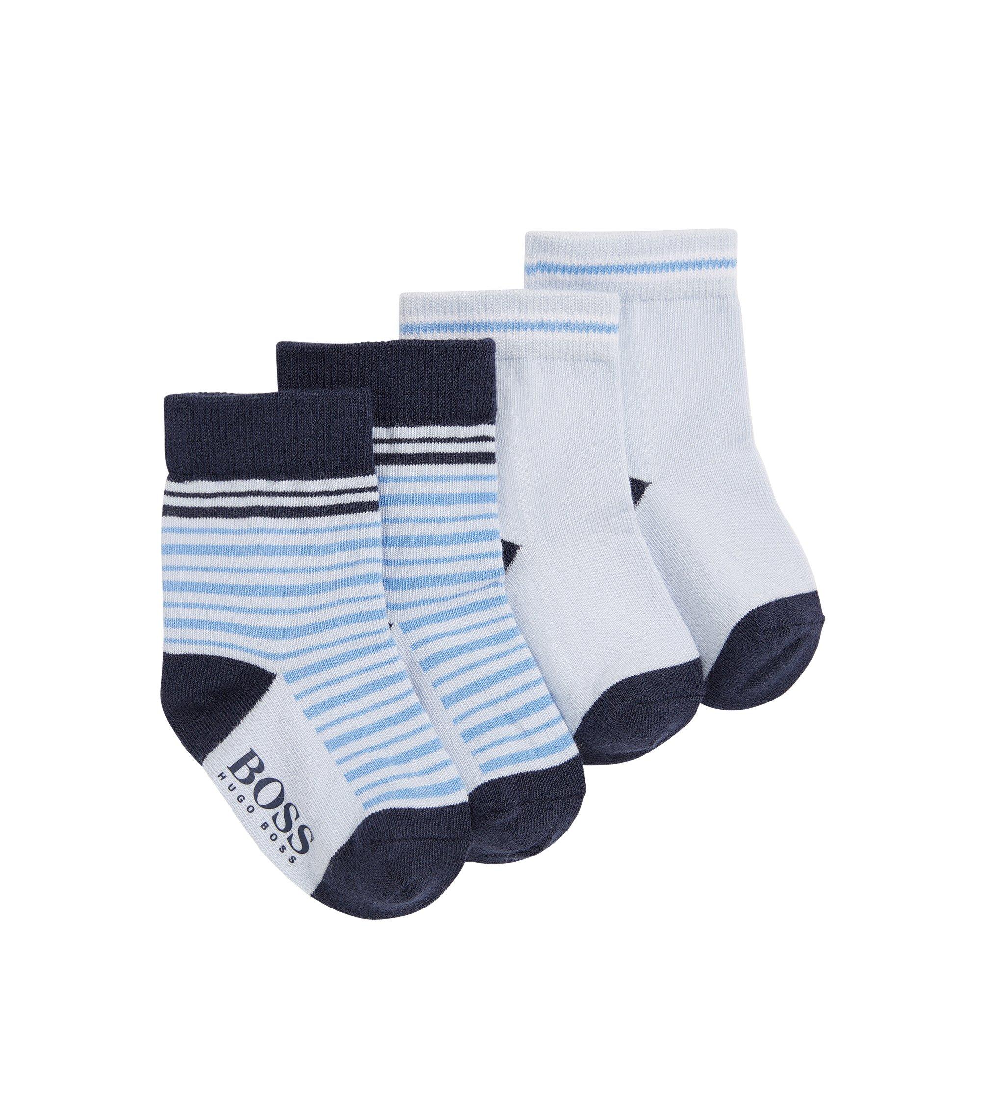 Lot de deux paires de chaussettes pour bébé en coton: «J00077», Bleu vif