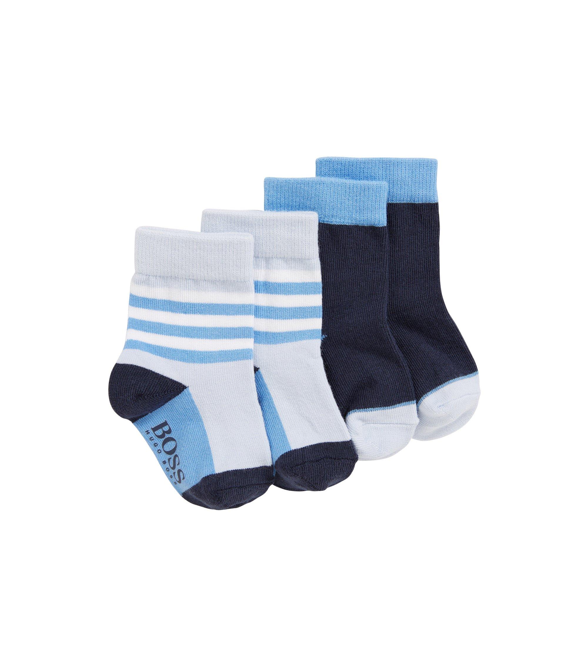 Baby-Socken aus elastischem Baumwoll-Mix im Zweier-Pack, Hellblau