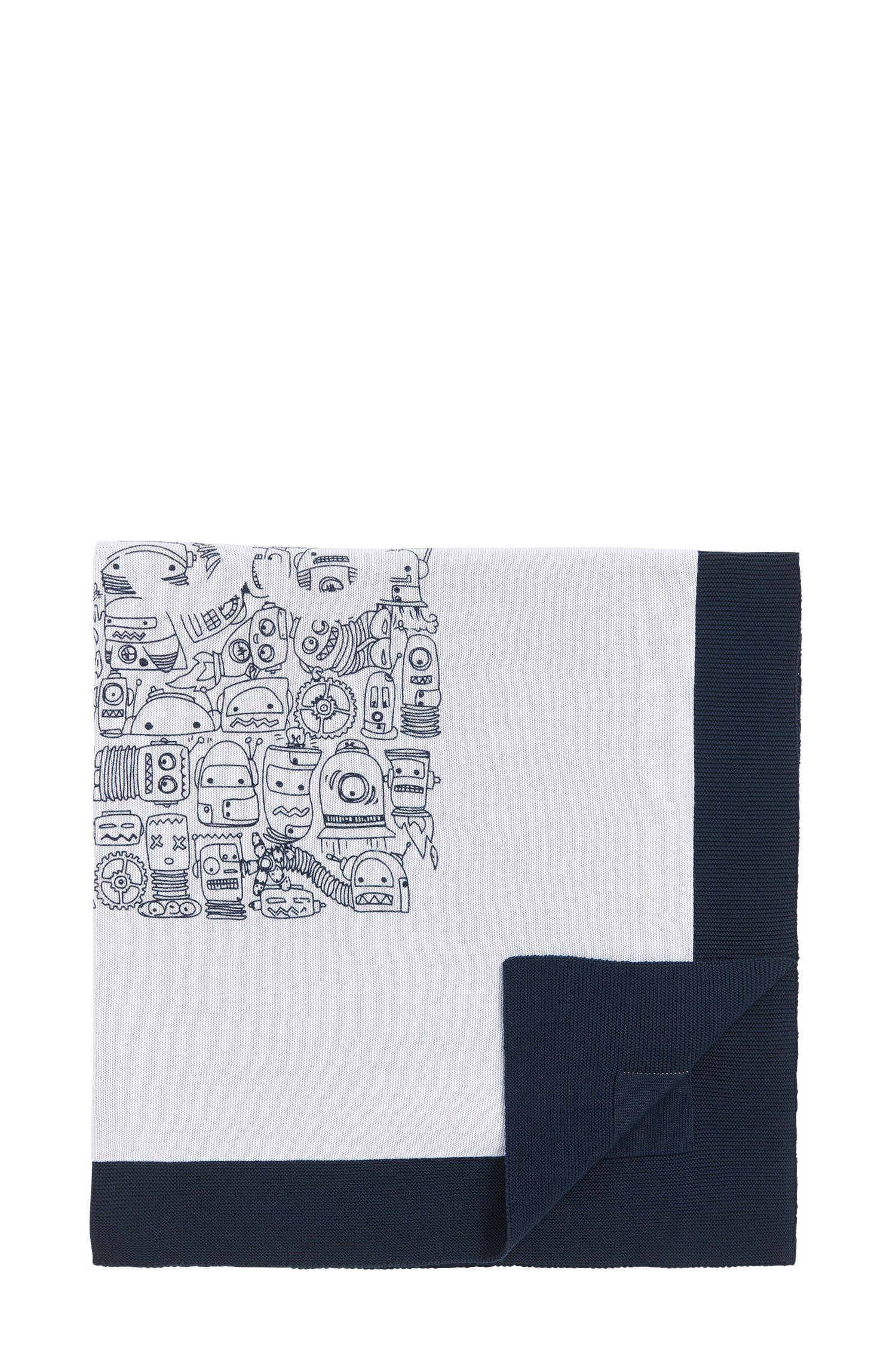 Baby-Decke aus gestrickter Baumwolle mit Roboter-Design