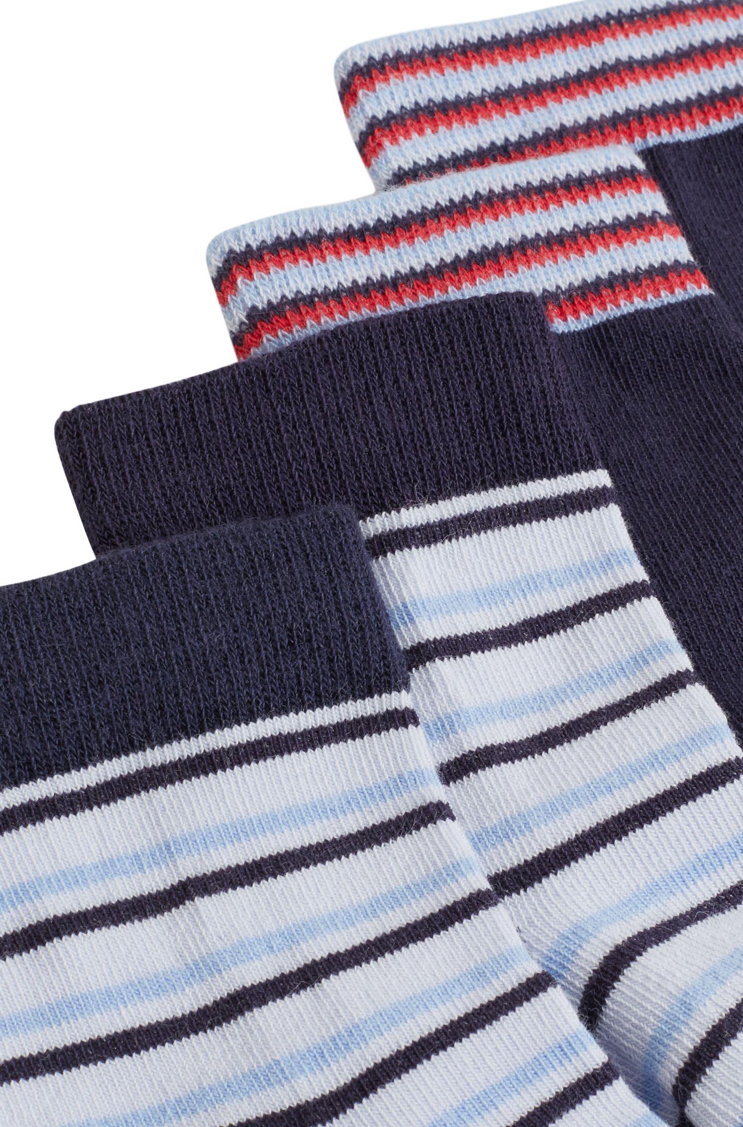 Paquete de dos pares de calcetines para bebé niño con rayas en jacquard, Azul oscuro