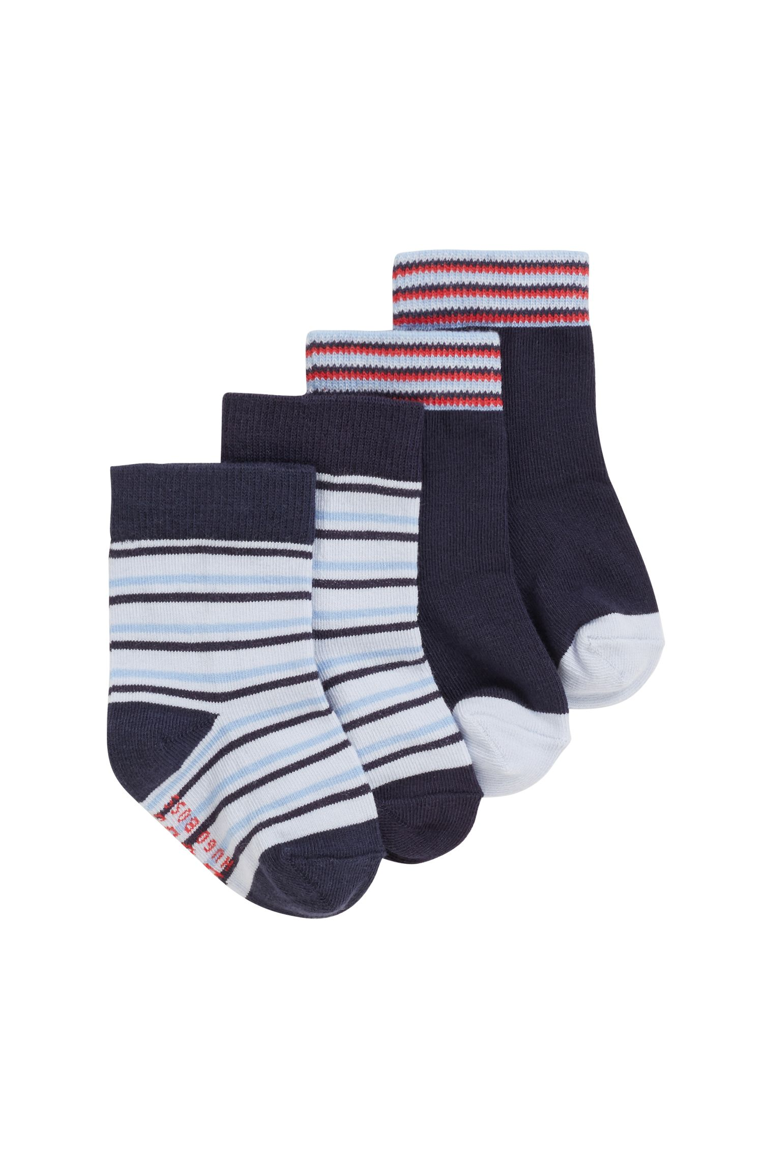 Lot de deux paires de chaussettes pour bébé garçon à rayures jacquard, Bleu foncé