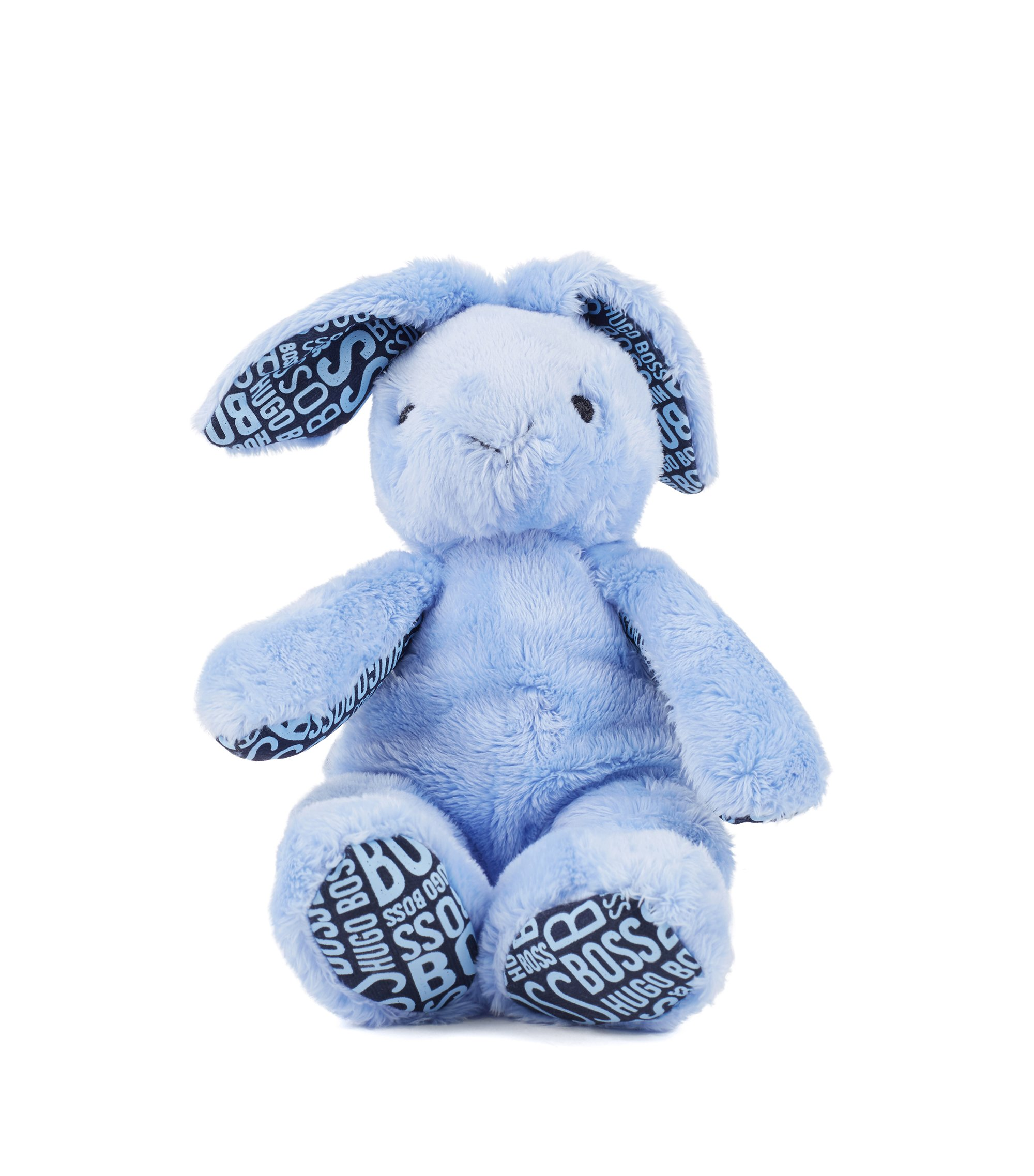 Baby faux-fur cuddly rabbit with printed jersey details, Light Blue