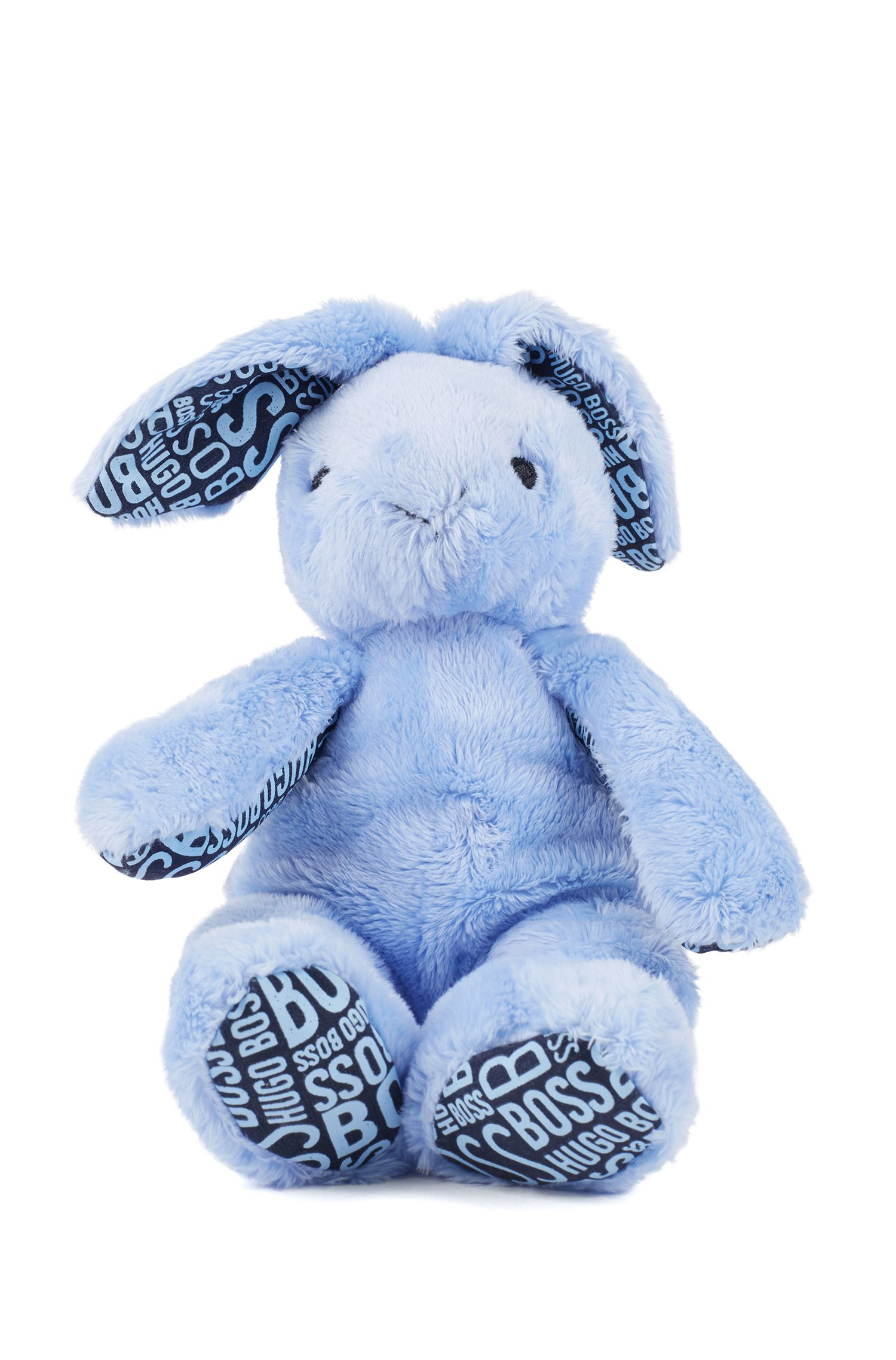 Peluche lapin en fourrure synthétique pour bébé avec détails en jersey imprimés, Bleu vif