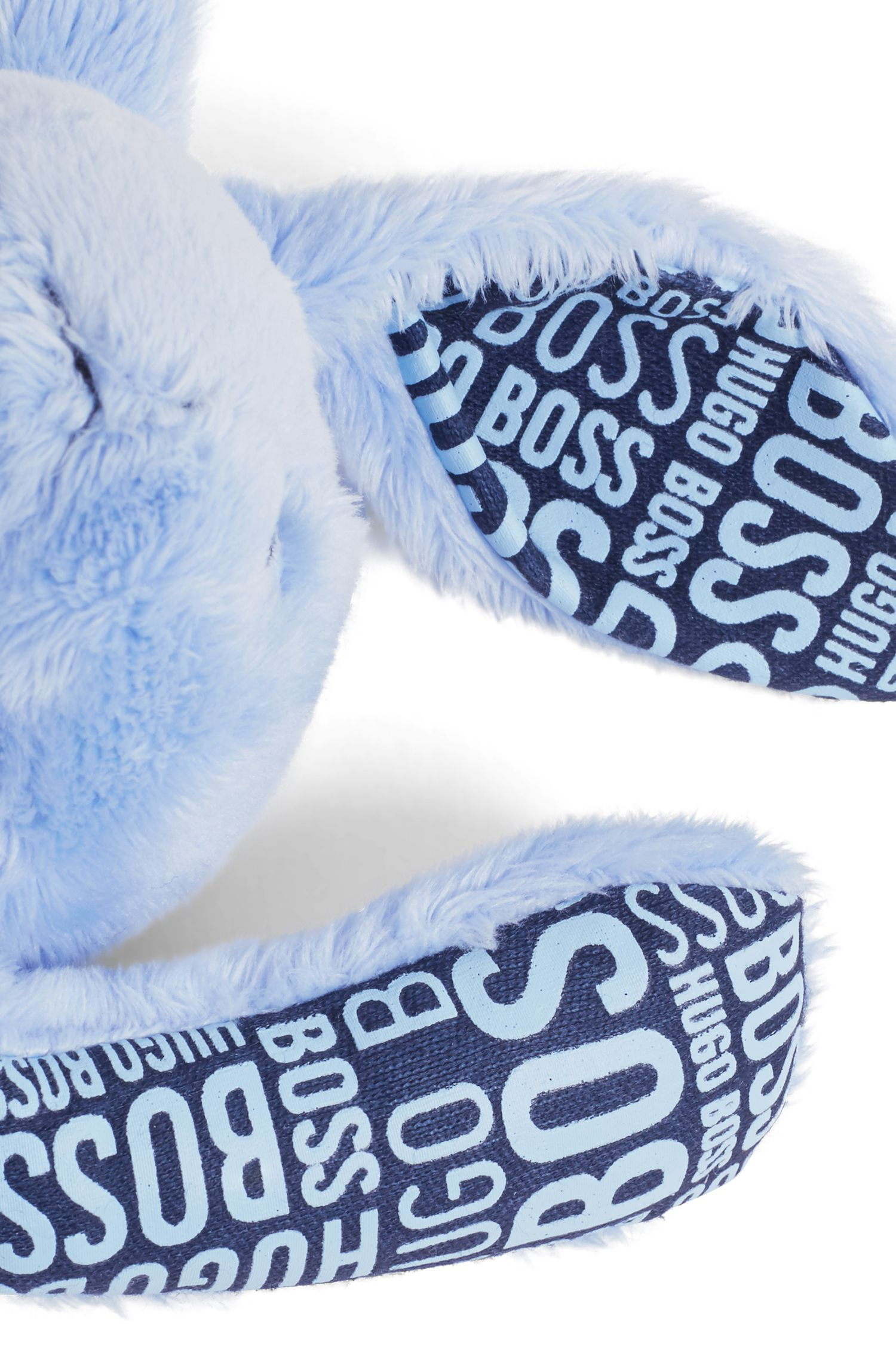 Knuffelkonijn van imitatiebont met bedrukte jerseydetails, voor baby's, Lichtblauw