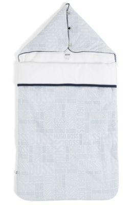 Sacco nanna in jersey di cotone imbottito con logo stampato, Celeste