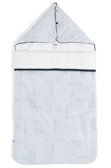 Nid d'ange en jersey de coton rembourré à imprimé logo, Bleu vif