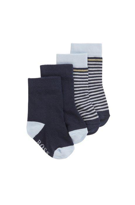 Calcetines para bebé en mezcla de algodón elástico con logo, Azul oscuro
