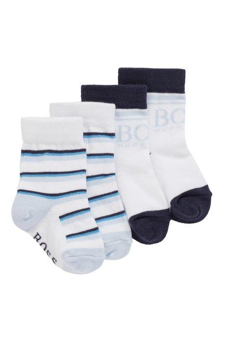 Lot de deux paires de chaussettes en coton mélangé pour bébé, Blanc