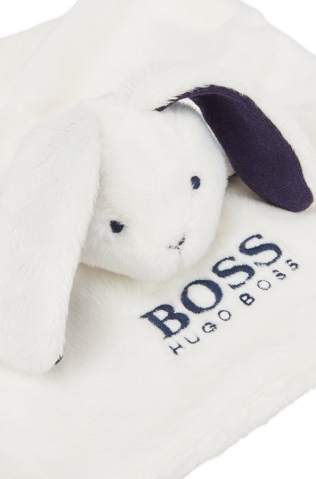 Baby comfort blanket with bunny character, White