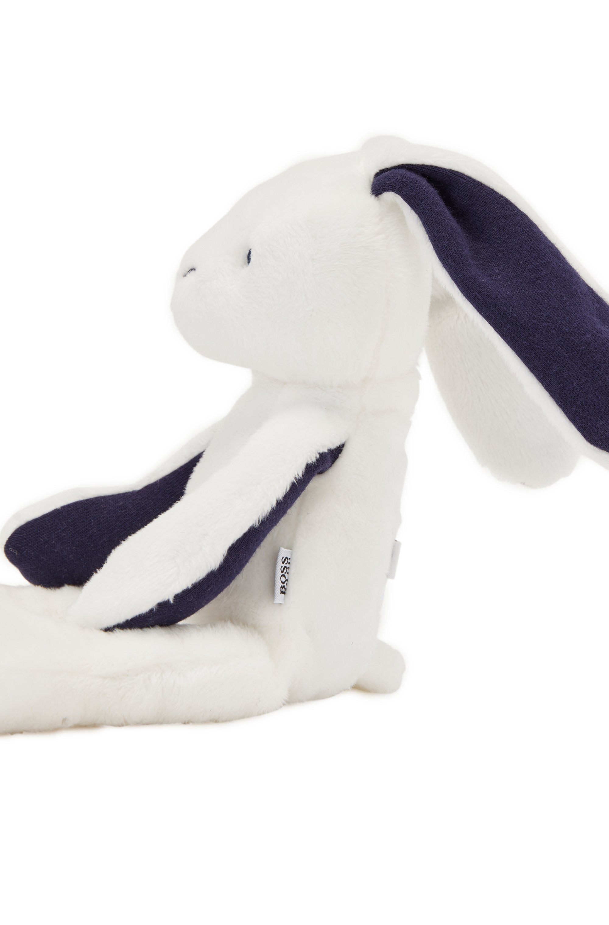Baby bunny toy in faux fur with printed logos