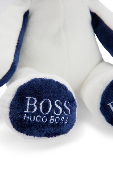 Coniglietto per neonati in pelliccia sintetica con logo stampato, Bianco