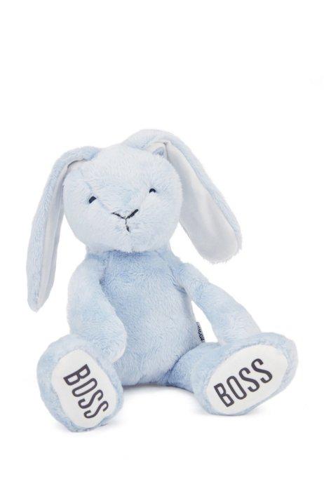 Coniglietto per neonati in pelliccia sintetica con logo stampato, Celeste