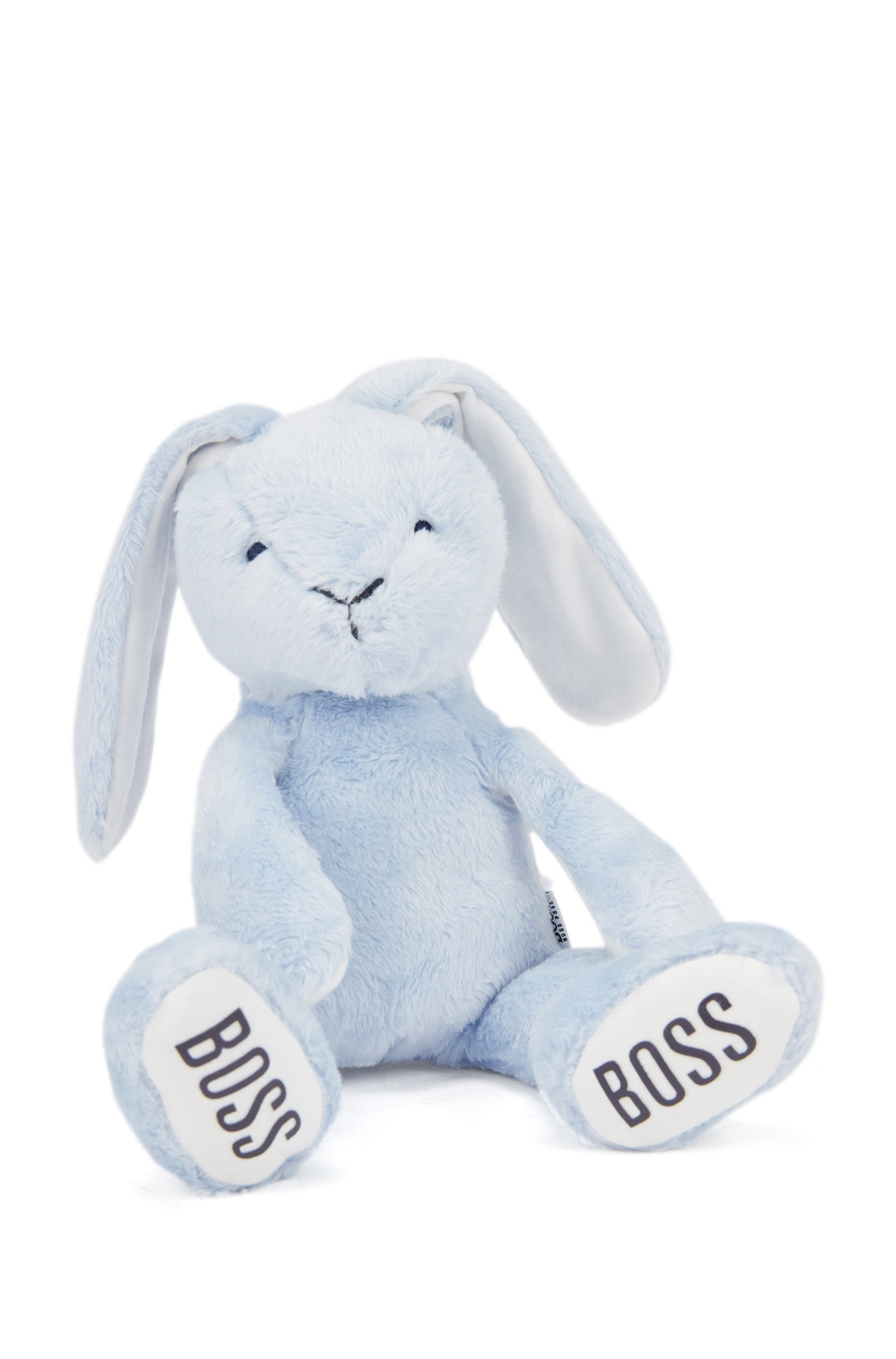 Baby bunny toy in faux fur with printed logos, Light Blue