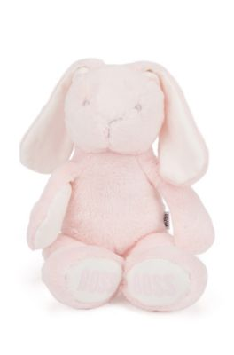 Conejito de juguete en imitación de piel con logos estampados, Rosa claro