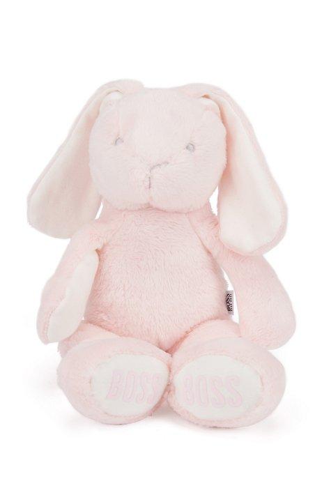 Lapin en fourrure synthétique pour bébé avec logos imprimés, Rose clair