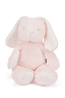Baby bunny toy in faux fur with printed logos, light pink