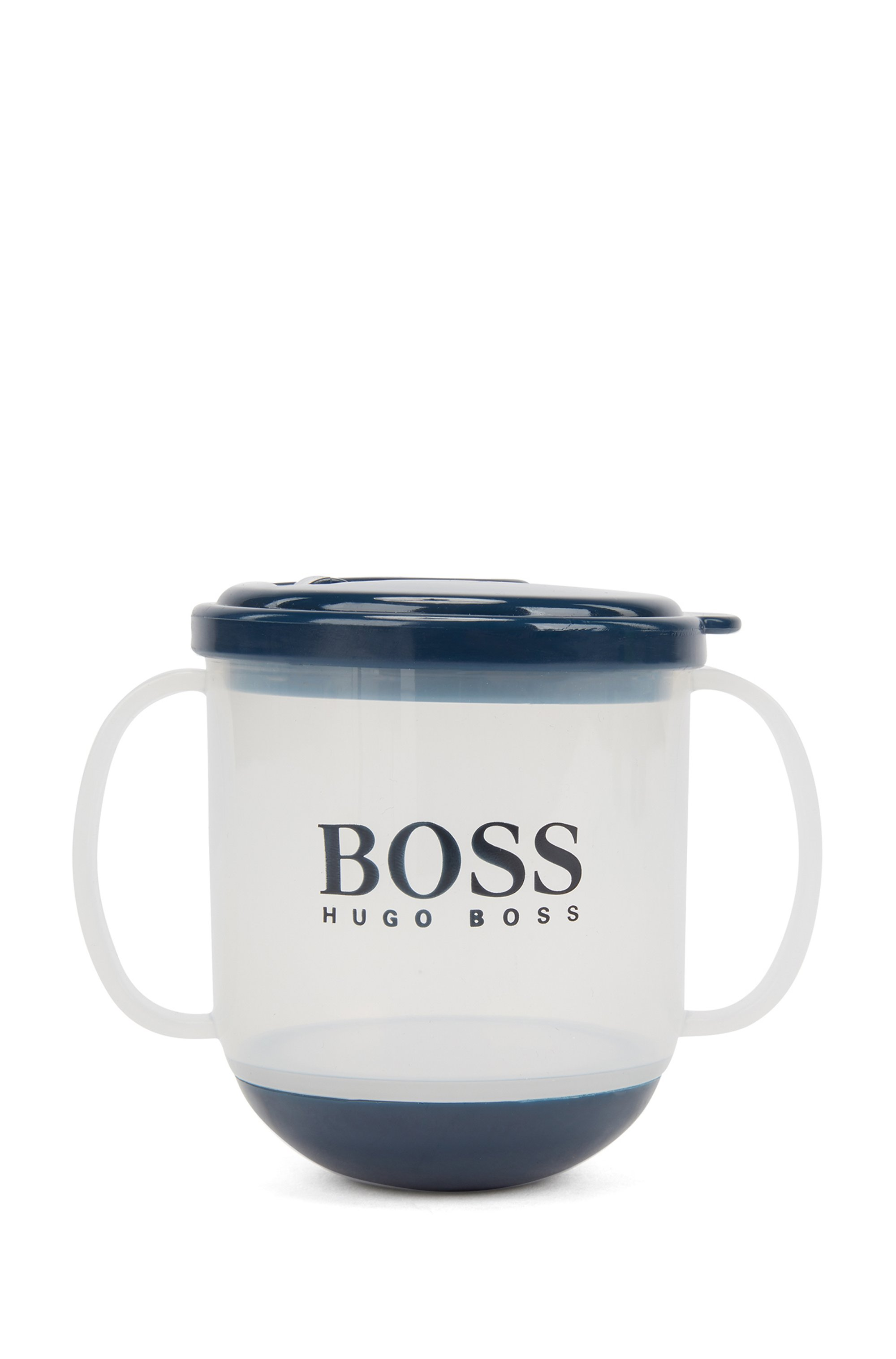 Baby cup in BPA-free plastic with printed logo, Dark Blue