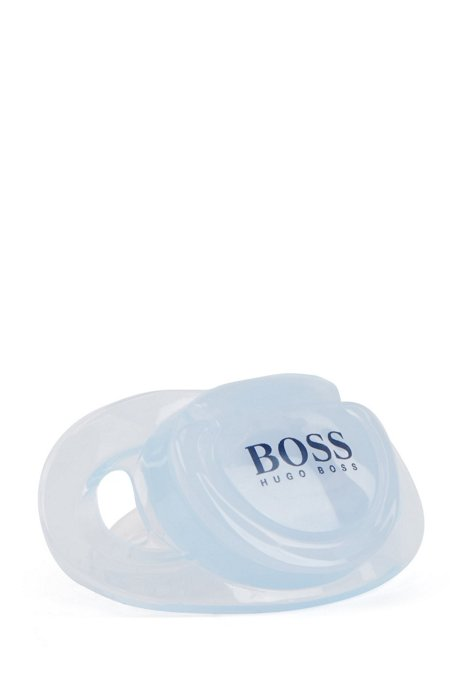Baby dummy in silicone with printed logo, Light Blue