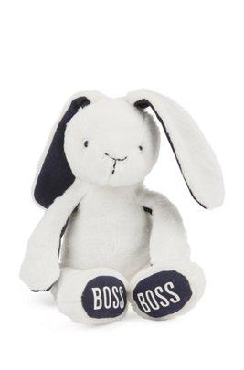 Baby faux-fur bunny with logo-print feet, White