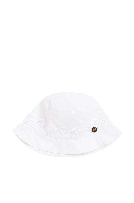 Cappellino da neonato in cotone in tinta unita con logo applicato: 'J91068', Bianco