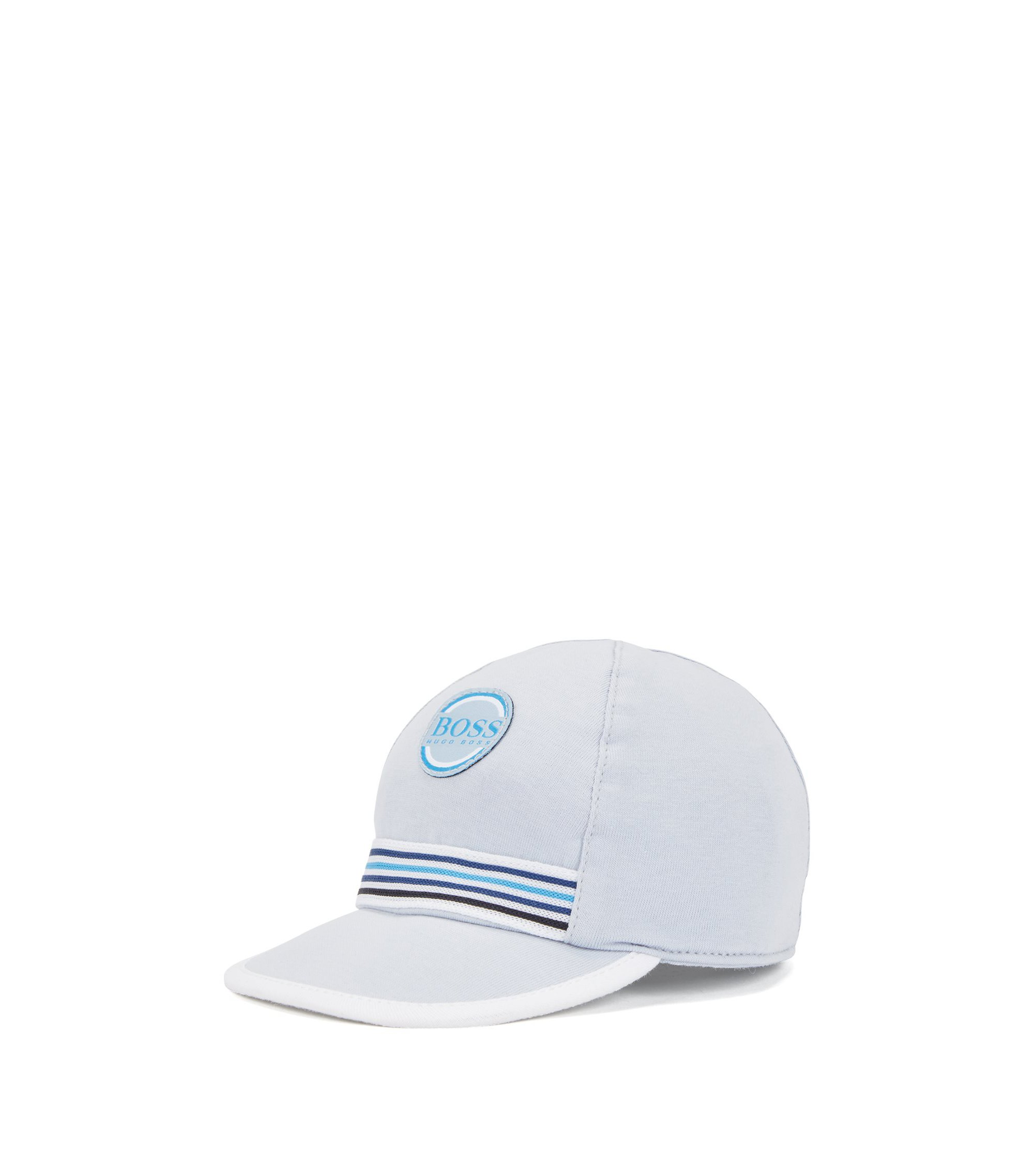 Baby cap in cotton jersey with embroidered badge, Light Blue