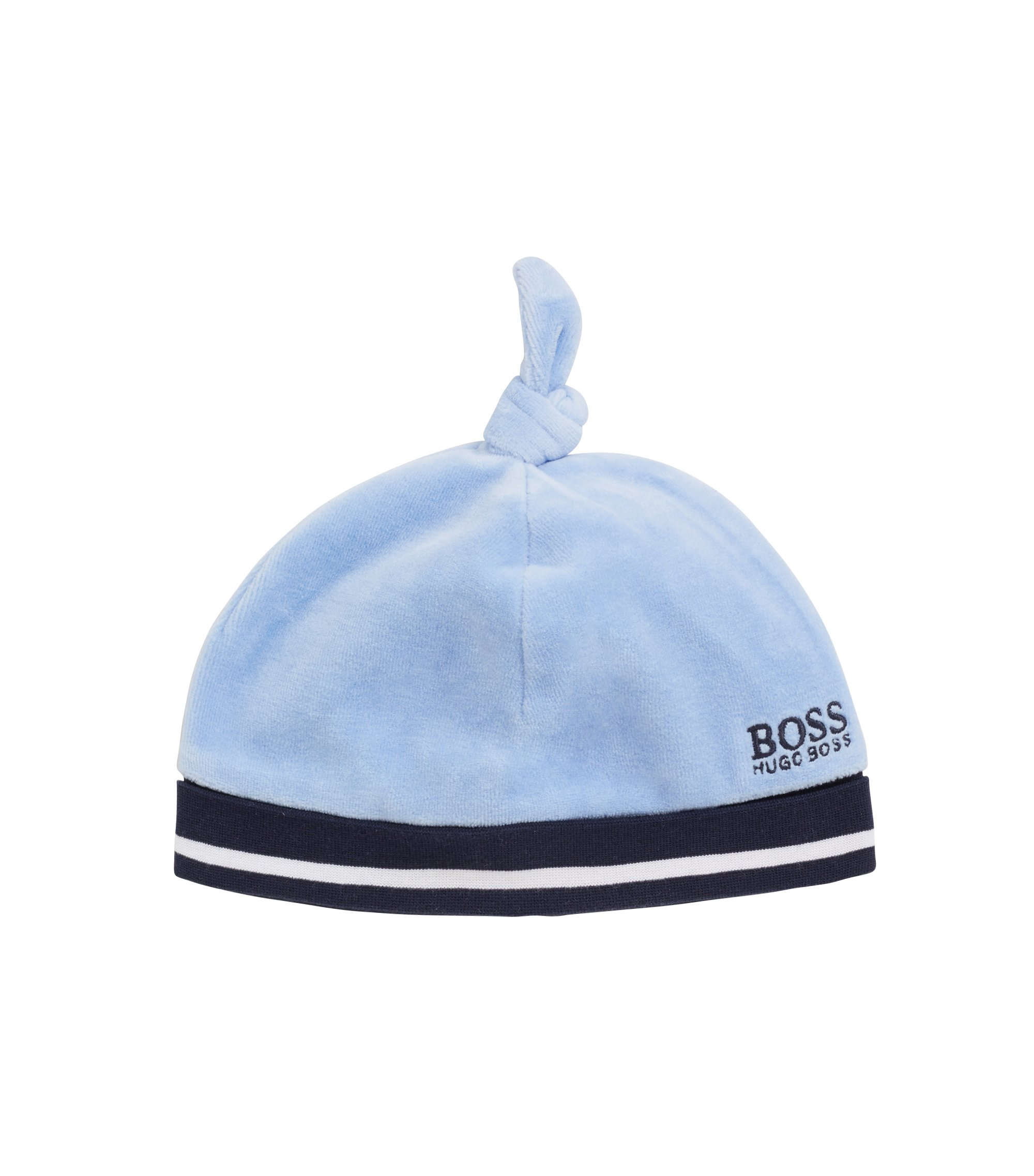 Baby beanie hat in cotton-blend terry velvet, Light Blue