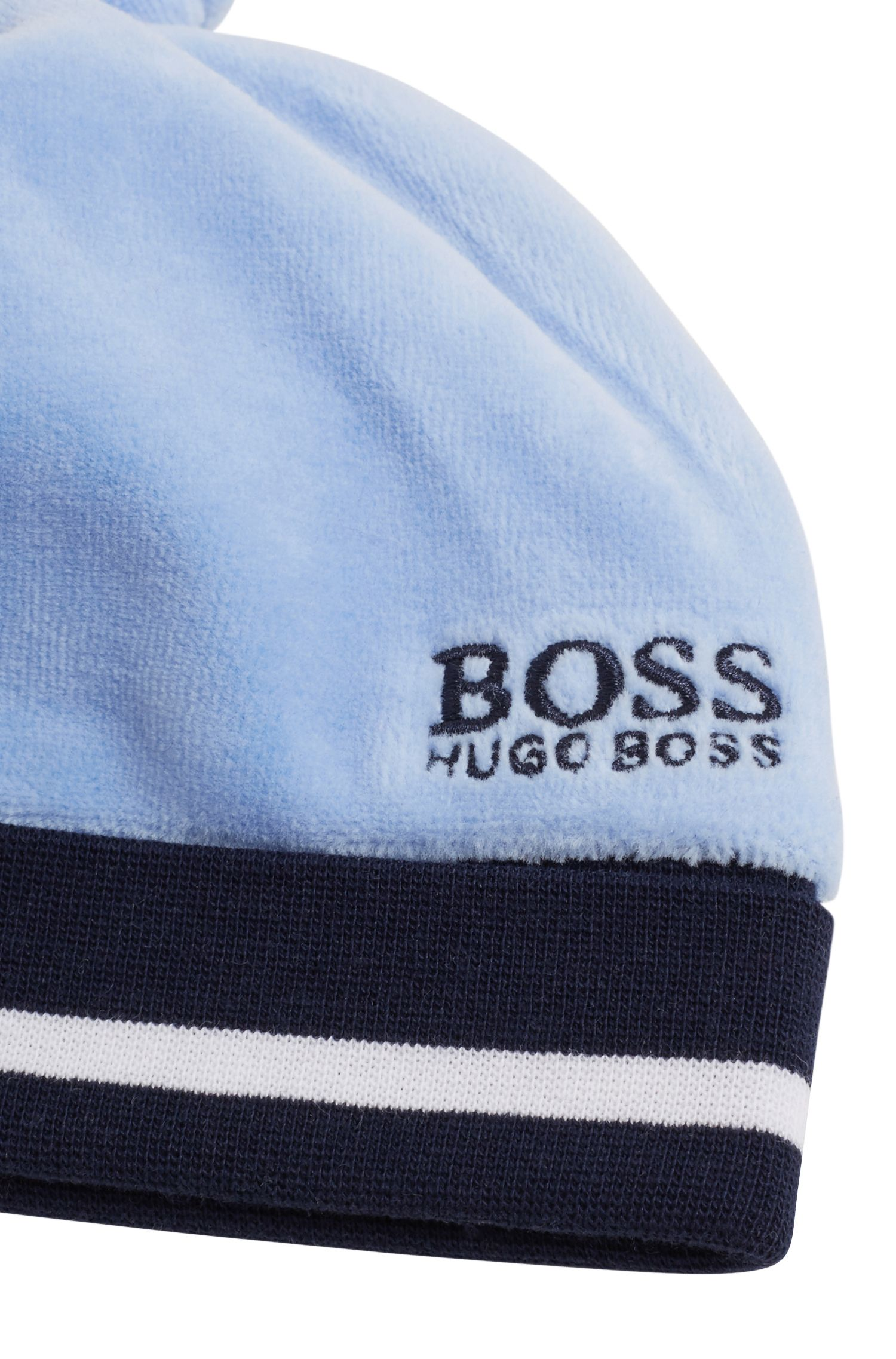 Baby-Mütze aus Baumwoll-Mix mit Samt-Finish, Hellblau