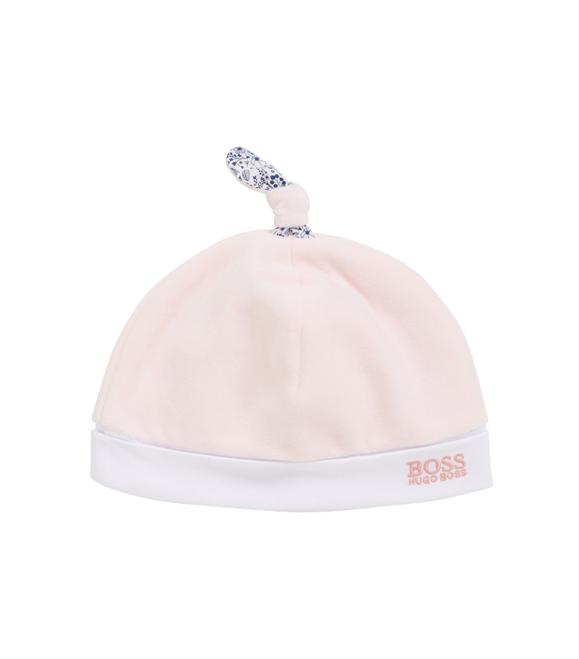 Baby girl beanie hat in cotton-blend velour, light pink