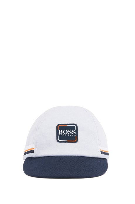 Baby-Cap aus Single Jersey mit Streifen und Logo, Hellblau