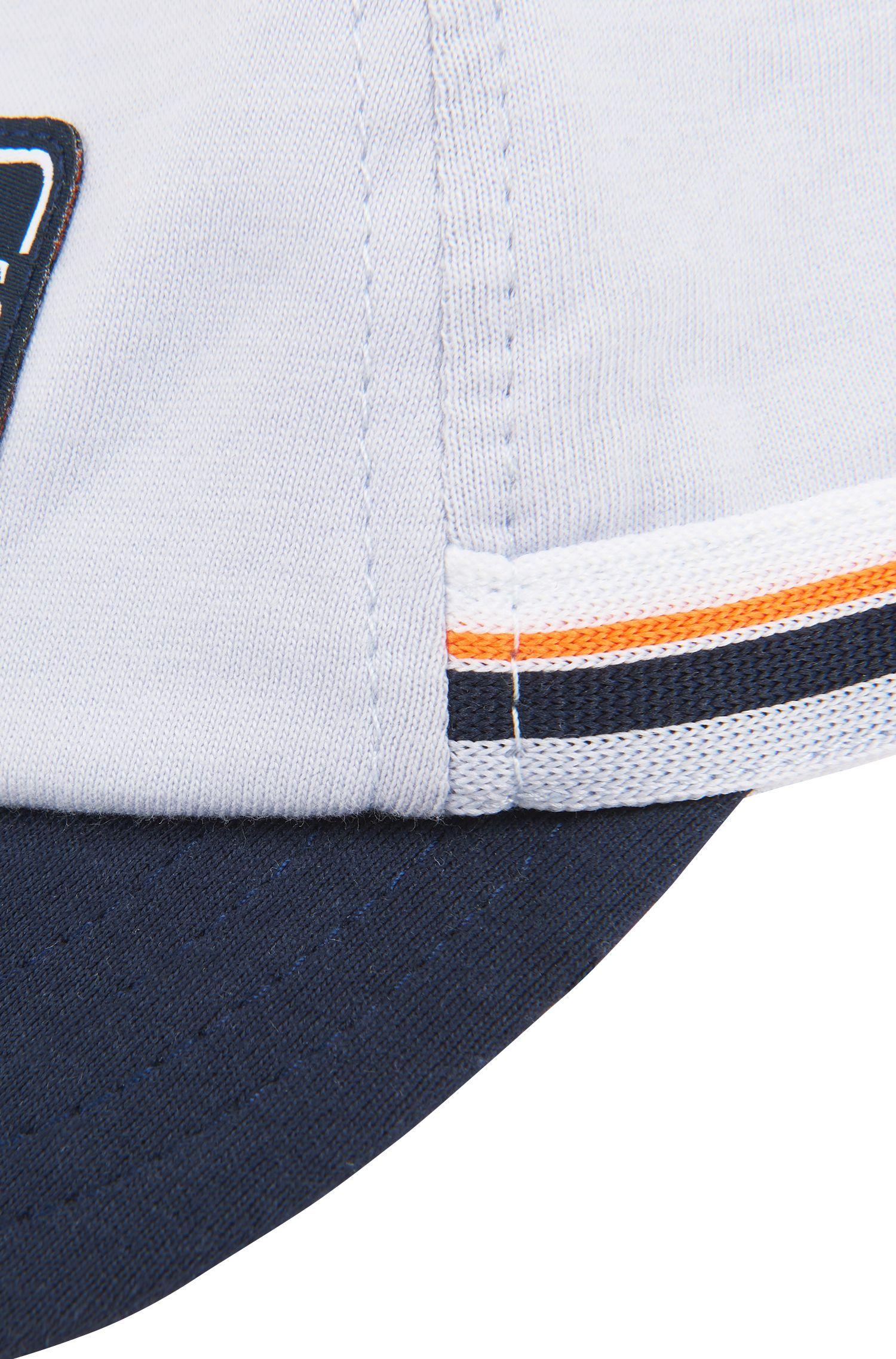 Casquette logo pour bébé en jersey de coton, à rayures tricotées, Bleu vif
