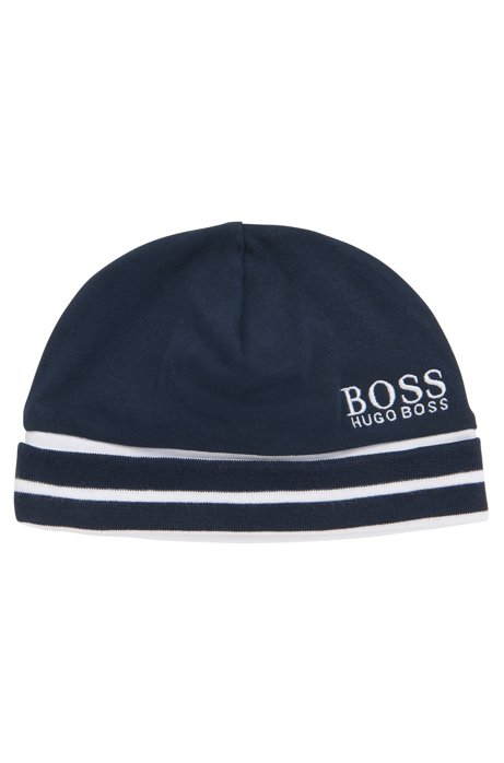 ec21feb5907 BOSS - Baby hat in cotton with logo and striped ribbing