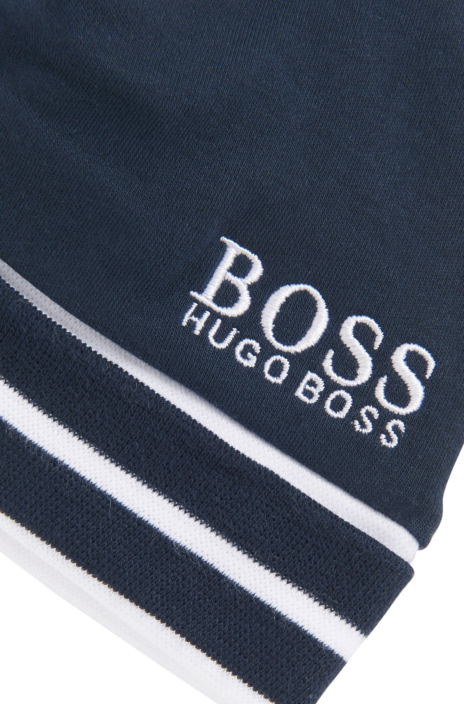 Bonnet pour bébé en coton à logo et bord côtelé à rayures, Bleu foncé