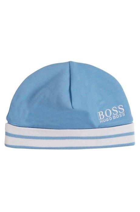 Bonnet pour bébé en coton à logo et bord côtelé à rayures, Turquoise